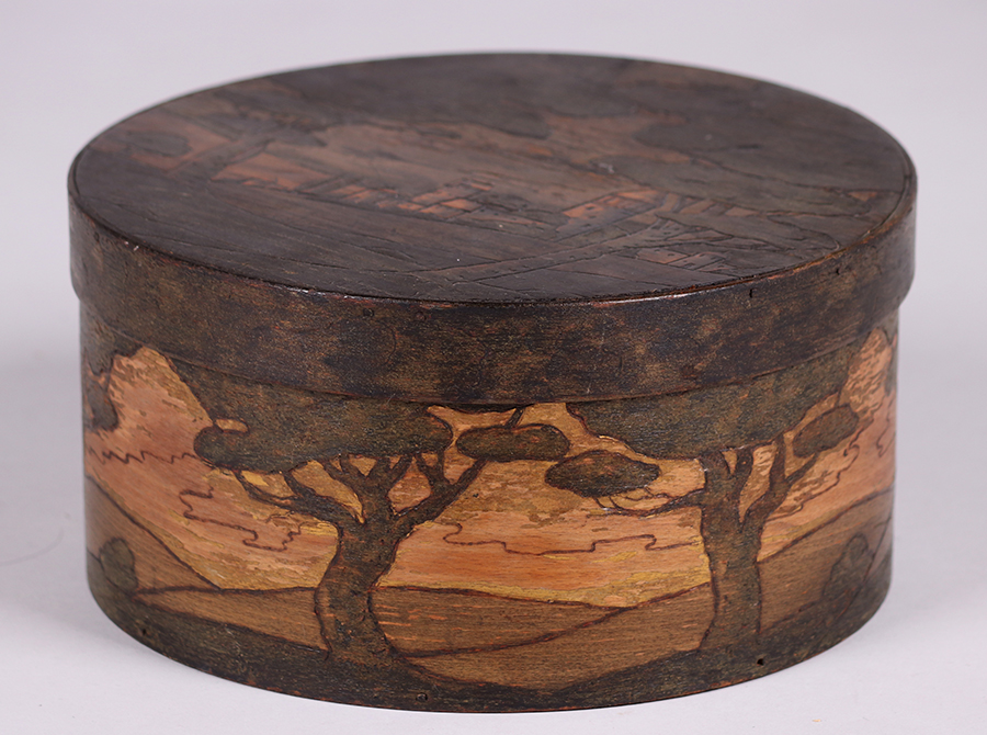 Arthur grinnell carved painted box c california