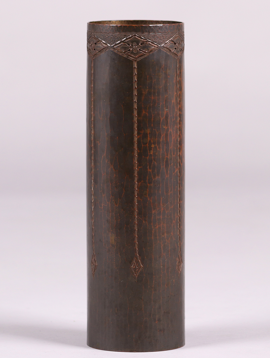 Tall Roycroft Hammered Copper Cylindrical Vase California Historical Design