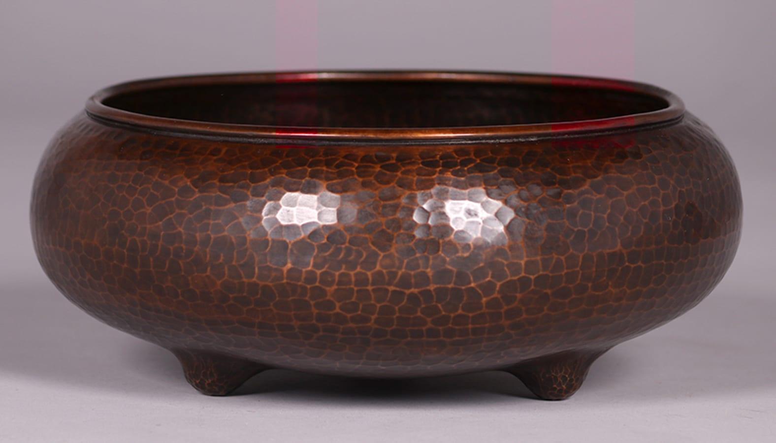 Large Roycroft Hammered Copper Nut Bowl California