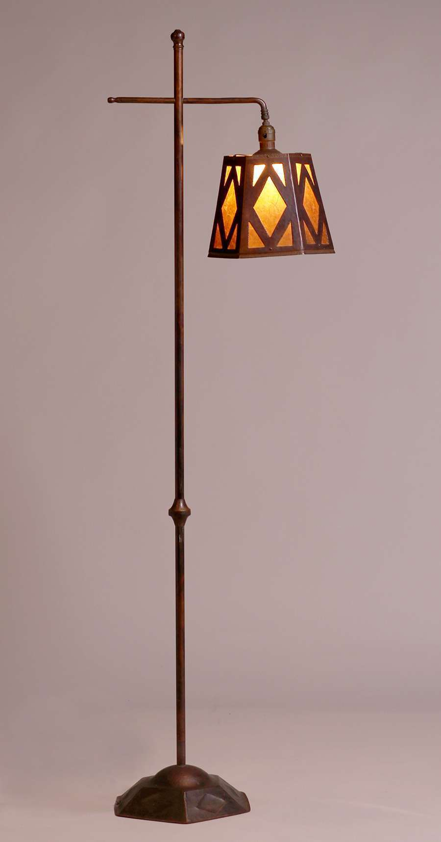 Armenac Hairenian Hammered Copper Amp Mica Floor Lamp C1930 California Historical Design