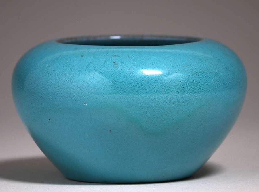 California Faience Closed Bowl Turquoise Glaze | California