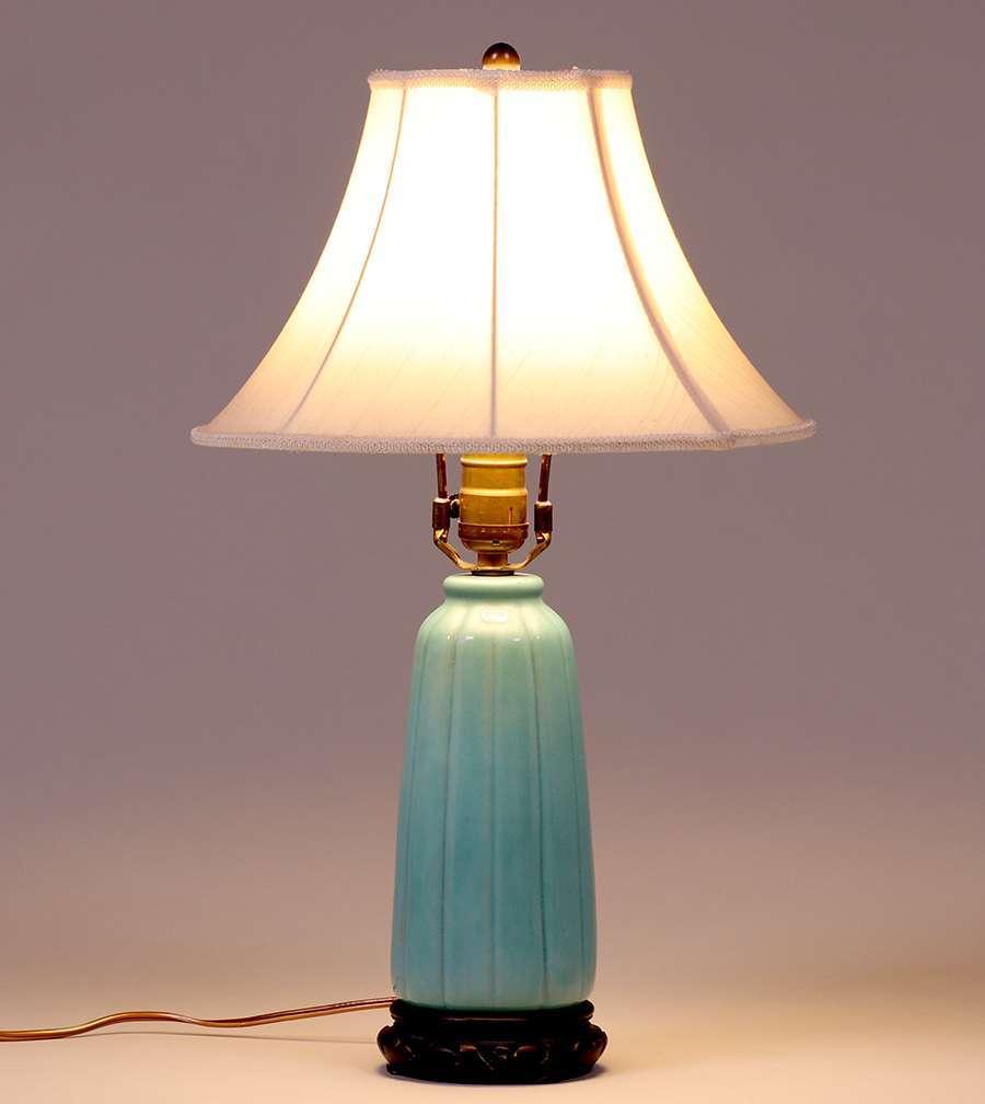 California Faience Ribbed Turquoise Lamp Base California