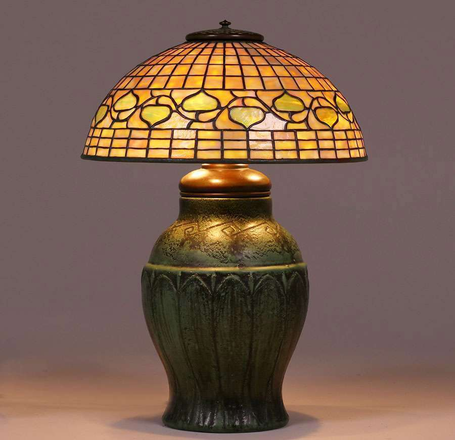 Tiffany Studios Wheatley Pottery Lamp C1910 California Historical Design