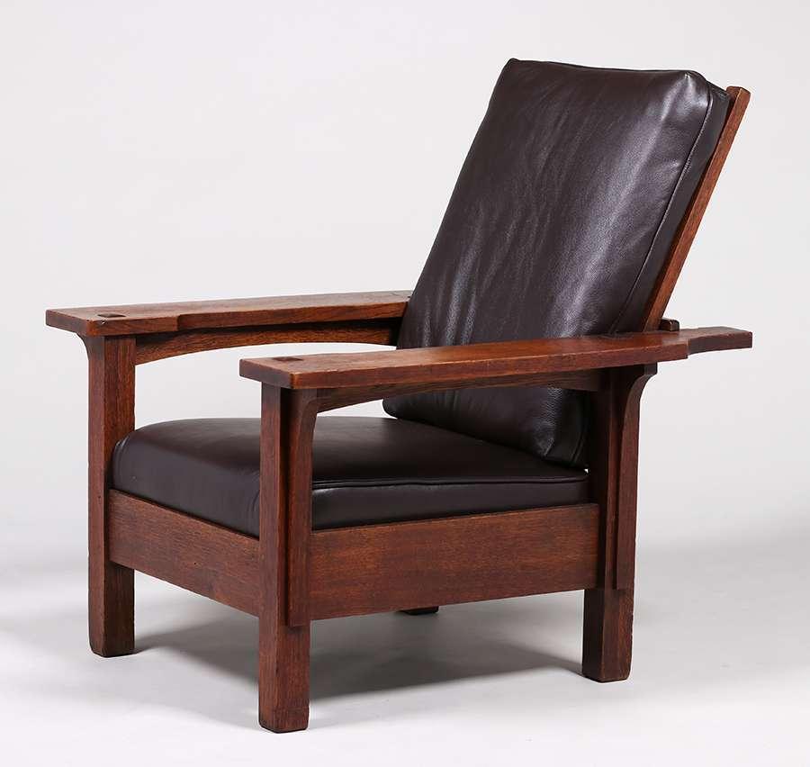 Mary Morris Chair Aerobics: Rare L&JG Stickley Paddle-Arm Morris Chair C1910