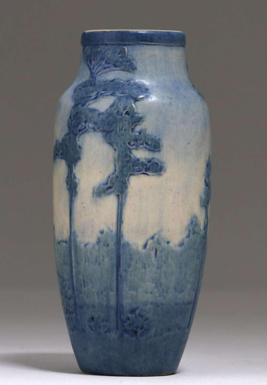 Newcomb College Scenic Pine Tree Vase 1917 California