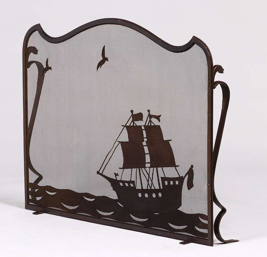 Arts Amp Crafts Hand Forged Iron Galleon Ship Fire Screen