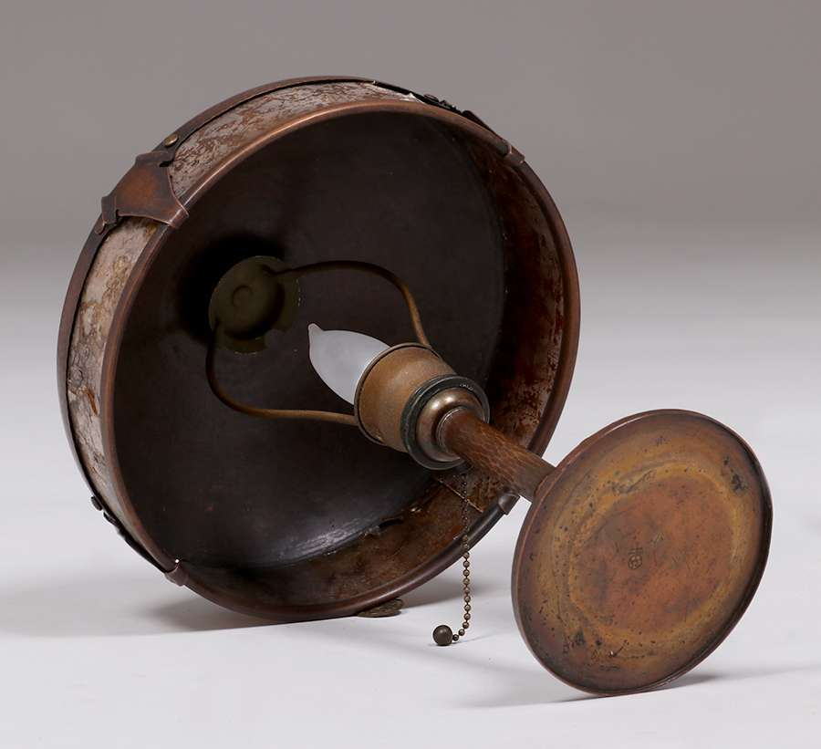 Roycroft Hammered Copper Amp Mica Lamp California